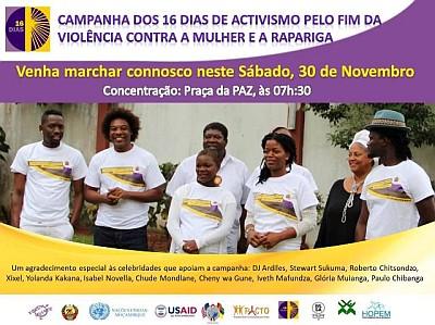 Marcha pelo fim da violência contra a mulher e a rapariga