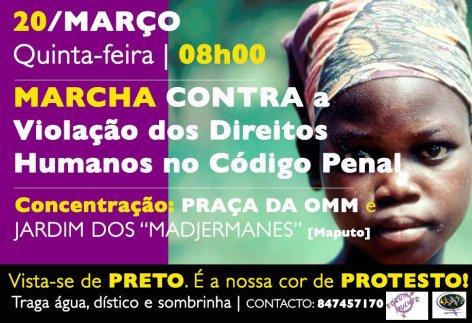 Cartaz do Fórum Mulher da Marcha contra a violação dos direitos humanos no Código Penal