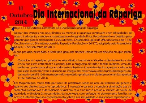 11 de Outubro, Dia Internacional da Rapariga