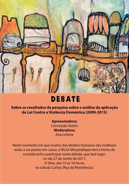 Convite para debate sobre violência doméstica