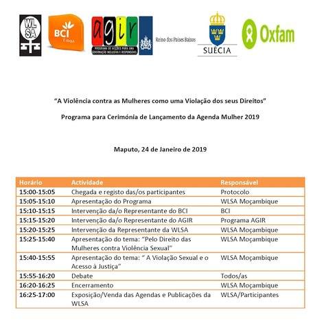 Programa lançamento Agenda Mulher 2019