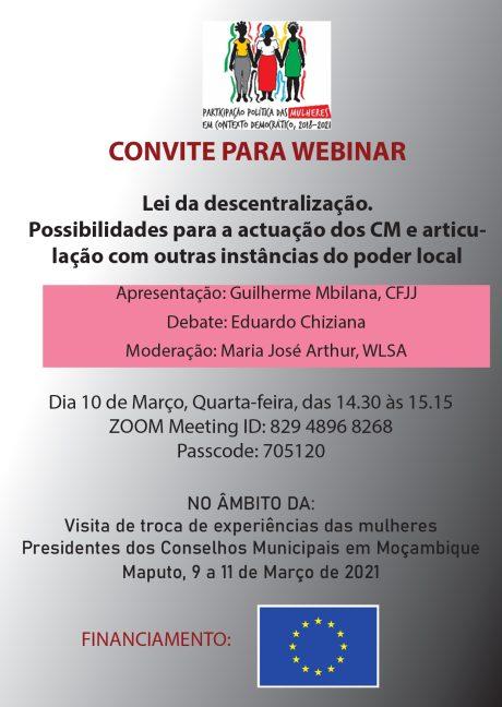 Convite webinar sobre a Lei da descentralização
